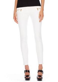 Michael Kors Zip-Pocket Skinny Jeans, White