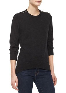 Michael Kors Zipper-Detail Sweater, Charcoal