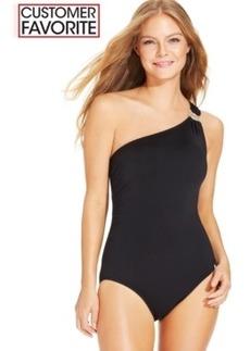 Michael Michael Kors One-Shoulder Hardware One-Piece Swimsuit Women's Swimsuit