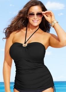 Michael Michael Kors Plus Size Halter Logo Tankini Top Women's Swimsuit