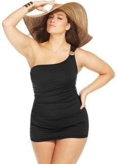 Michael Michael Kors Plus Size One-Shoulder Logo Swimdress Women's Swimsuit