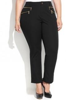 Michael Michael Kors Plus Size Straight-Leg Zip-Pocket Pants