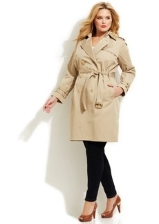 Michael Michael Kors Plus Size Studded Trench Coat