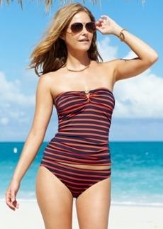 Michael Michael Kors Striped Bandeau Tankini Top Women's Swimsuit