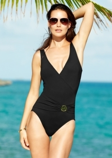 Michael Michael Kors Surplice-Neck Logo One-Piece Swimsuit Women's Swimsuit