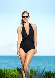 Michael Michael Kors Twist-Front Halter One-Piece Swimsuit Women's Swimsuit