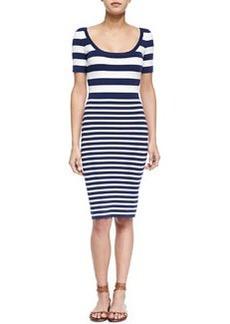 Mixed-Stripe Short-Sleeve Sheath Dress, Indigo/White   Mixed-Stripe Short-Sleeve Sheath Dress, Indigo/White