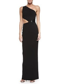 One-Shoulder Cutout Gown with Sequins, Black   One-Shoulder Cutout Gown with Sequins, Black