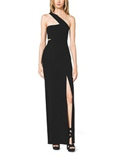 One-Shoulder Cutout Wool-Crepe Gown