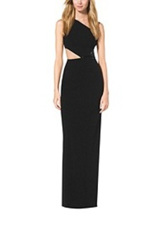 Paillette-Embroidered One-Shoulder Cutout Gown