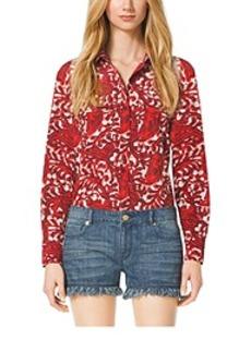 Paisley Button-Down Shirt, Plus Size
