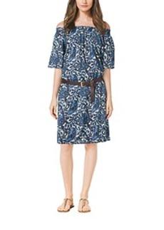 Paisley-Print Smock Dress