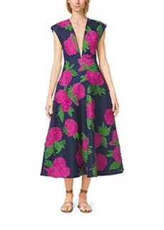 Peony-Embroidered Silk-Wool Mikado Plunge Dress