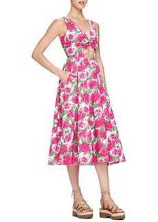 Peony-Print Front-Cutout Dress, White/Geranium Pink   Peony-Print Front-Cutout Dress, White/Geranium Pink