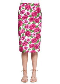 Peony-Print Knee-Length Pencil Skirt, White/Geranium   Peony-Print Knee-Length Pencil Skirt, White/Geranium