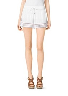 Perforated Crepe Shorts