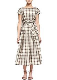 Plaid Tie-Waist Midi Dress, Muslin/Black   Plaid Tie-Waist Midi Dress, Muslin/Black