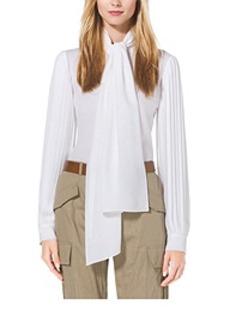 Pleat-Sleeve Silk-Georgette Blouse