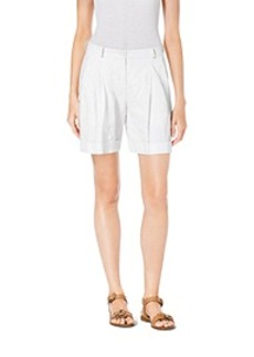 Pleated Crushed-Cotton Trouser Shorts