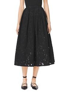 Pleated Floral Fil Coupé Dance Skirt
