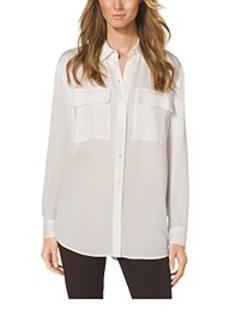 Pocket-Front Silk Blouse