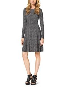 Printed Cotton-Blend Dress, Petite