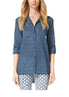 Printed Cotton Shirt, Petite