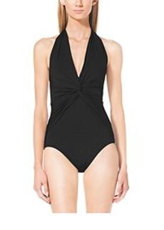 Ruched V-Neck Halter Swimsuit