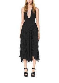 Ruffled Silk-Chiffon Halter Dress