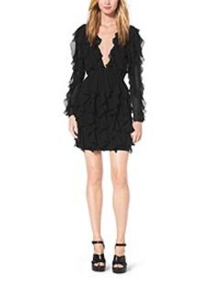 Ruffled V-Neck Silk-Chiffon Dress