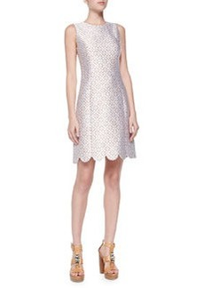 Scallop-Hem Shift Dress, Optic White   Scallop-Hem Shift Dress, Optic White