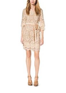 Scalloped-Lace Shift Dress