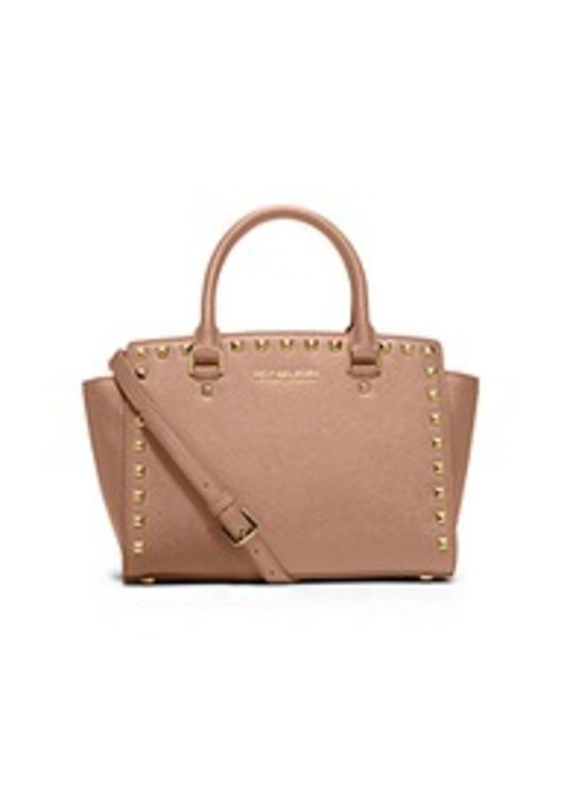 michael kors selma medium studded saffiano leather satchel handbags. Black Bedroom Furniture Sets. Home Design Ideas