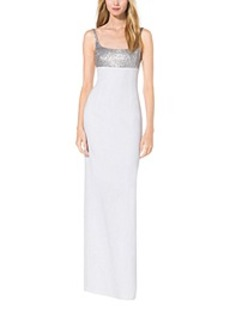 Sequined Crepe-Sable Tank Gown
