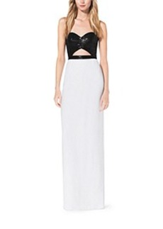 Sequined Cutout Crepe-Sable Gown