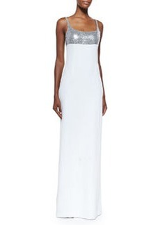 Sequined Tank Gown, Silver/White   Sequined Tank Gown, Silver/White