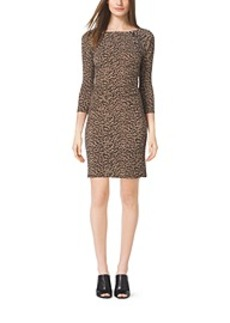 Shirred Animal-Print Dress