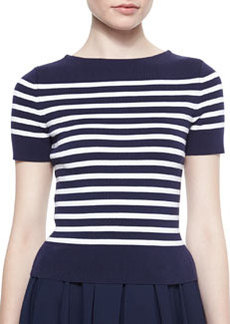 Short-Sleeve Striped Knit Tee   Short-Sleeve Striped Knit Tee