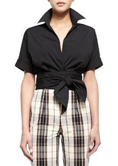 Short-Sleeve Wrap-Front Blouse, Black   Short-Sleeve Wrap-Front Blouse, Black