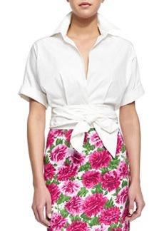 Short-Sleeve Wrap-Front Blouse, Optic White   Short-Sleeve Wrap-Front Blouse, Optic White