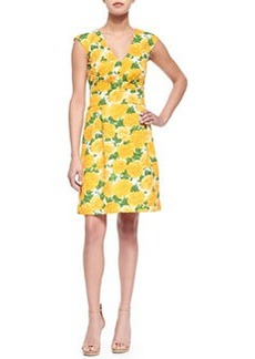Sleeveless Daffodil-Print V-Neck Dress   Sleeveless Daffodil-Print V-Neck Dress