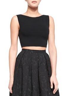 Sleeveless Knit Crop Top, Black   Sleeveless Knit Crop Top, Black