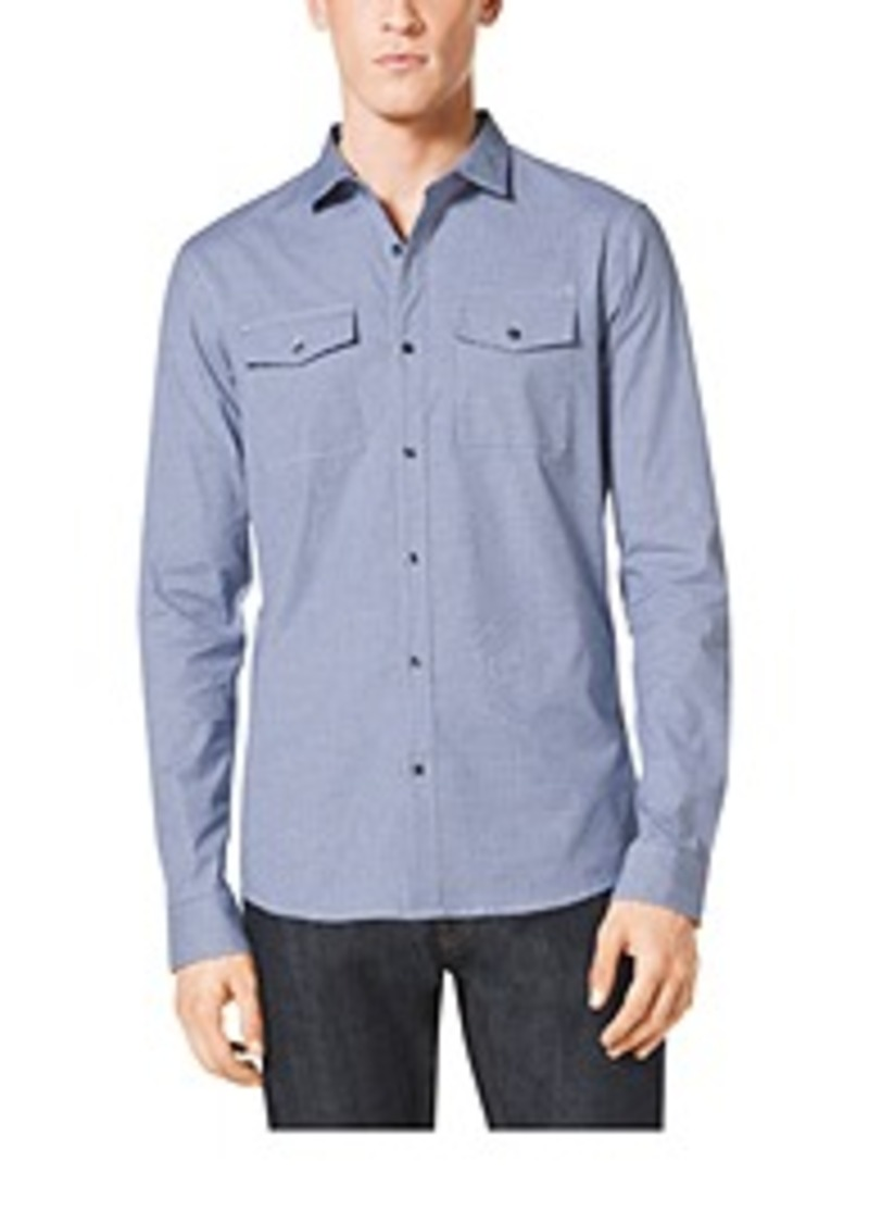 michael kors slim fit two pocket plaid cotton shirt