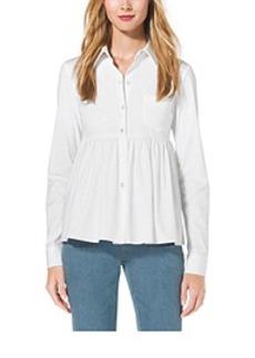 Stretch-Cotton Empire-Waist Shirt