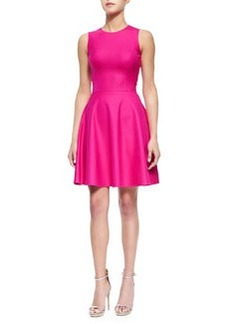Stretch-Crepe Fit-and-Flare Dress, Geranium   Stretch-Crepe Fit-and-Flare Dress, Geranium