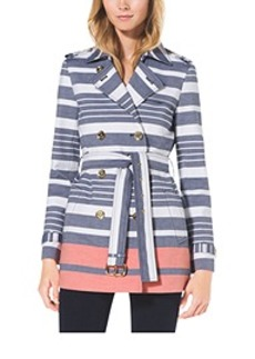 Striped Cotton Trench Coat