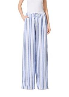 Striped Linen Wide-Leg Pants