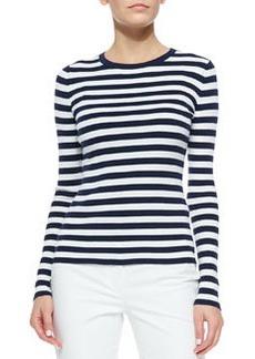 Striped Ribbed Long-Sleeve Tee, Indigo/White   Striped Ribbed Long-Sleeve Tee, Indigo/White