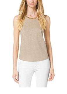 Studded Linen-Blend Top