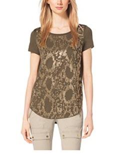 Studded Snake-Print Jersey Top